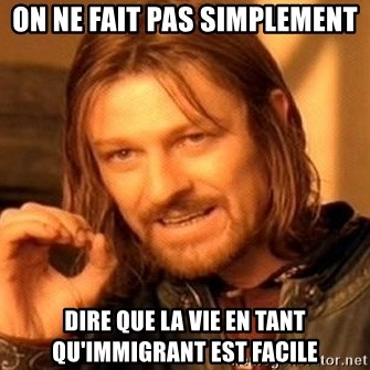 One Does Not Simply - On ne fait pas simplement Dire que la vie en tant qu'immigrant est facile