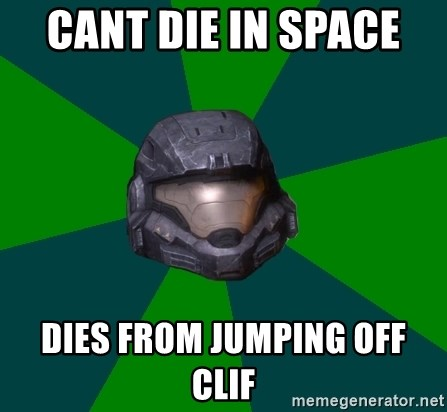 Halo Reach - cant die in space  dies from jumping off clif