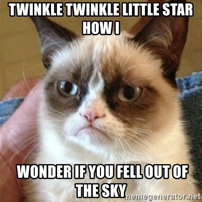 Grumpy Cat  - twinkle twinkle little star how i  wonder if you fell out of the sky