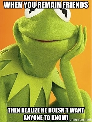 Kermit the frog - When you remain friends Then realize he doesn't want anyone to know!