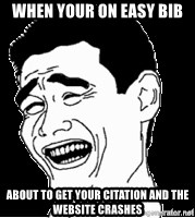 Laughing - When your on easy Bib  About to get your citation and the website crashes