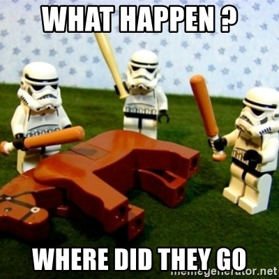Beating a Dead Horse stormtrooper - What happen ?  Where did they go