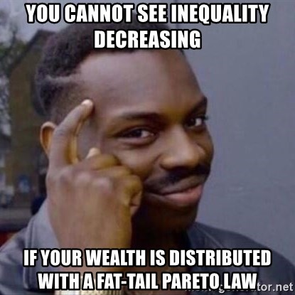 Thinking Blackguy - you cannot see inequality decreasing  if your wealth is distributed with a fat-tail Pareto law