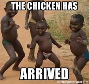 african children dancing - the chicken has  arrived