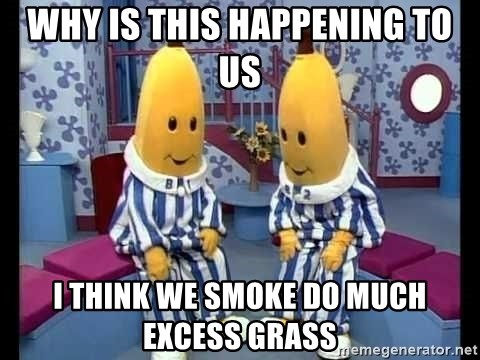 bananas in pajamas - why is this HAPPENING to us i think we smoke do much excess grass