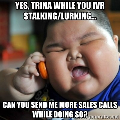 fat chinese kid - YES, TRINA WHILE YOU IVR STALKING/LURKING... CAN YOU SEND ME MORE SALES CALLS WHILE DOING SO?
