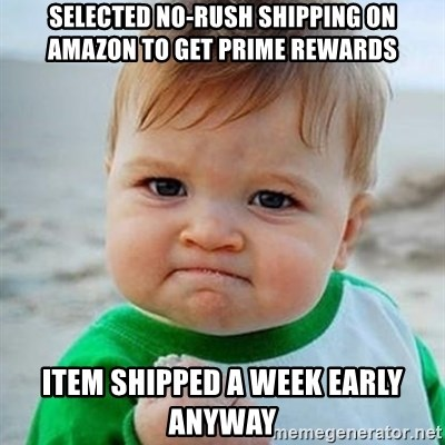 Selected No-Rush Shipping on Amazon to get Prime rewards