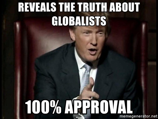 Donald Trump - reveals the truth about globalists 100% approval