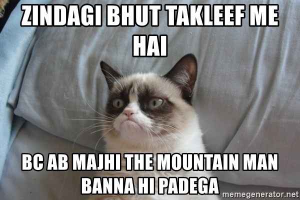 Grumpy cat good - zindagi bhut takleef me hai BC ab MAJHI the MOUNTAIN MAN BANNA hi PADEGa