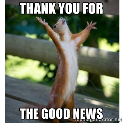 Thank You For The Good News Thanking Squirrel Meme Generator