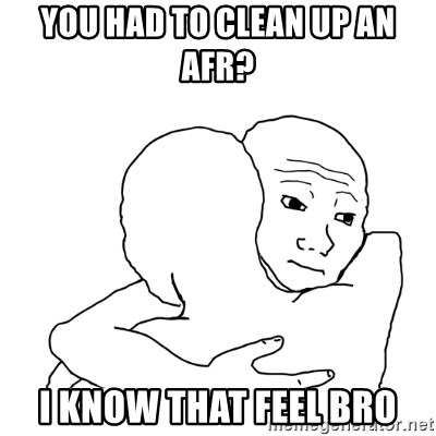I know that feel bro blank - you had to clean up an AFR? I know that feel bro
