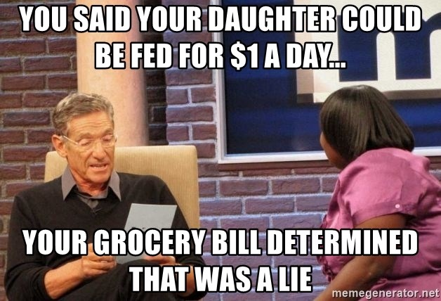 Maury Lie Detector - YOU SAID YOUR DAUGHTER COULD be FED FOR $1 A DAY... YOUR GROCERY BILL Determined THAT WAS A lie