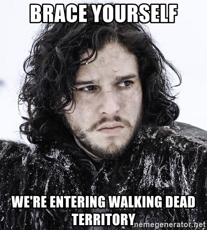 John Snow Game of Thrones  - brace yourself we're entering walking dead territory