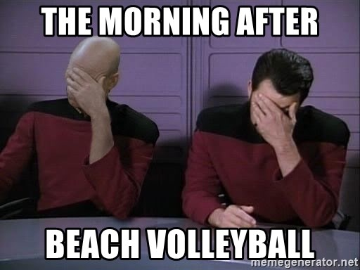 Picard-Riker Tag team - The morning after beach volleyball