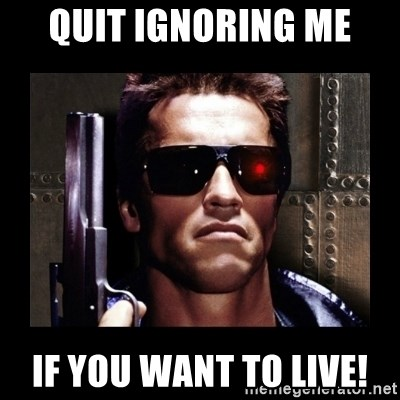 Quit ignoring me If you want to live! - TERMINATOR FACE