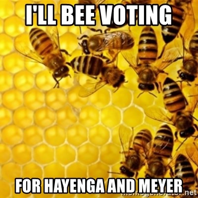Honeybees - i'll bee voting  for hayenga and meyer