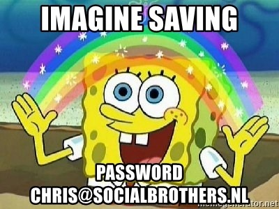Imagination - Imagine saving password chris@socialbrothers.nl