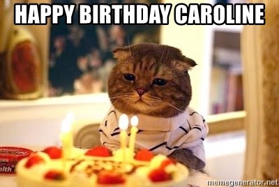 Happy Birthday Caroline Birthday Cat Meme Generator