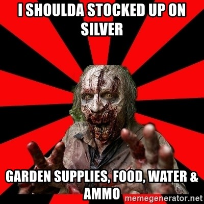 Zombie - i shoulda stocked up on silver garden supplies, food, water & ammo