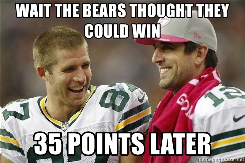 Wait The Bears Thought They Could Win 35 Points Later Green Bay