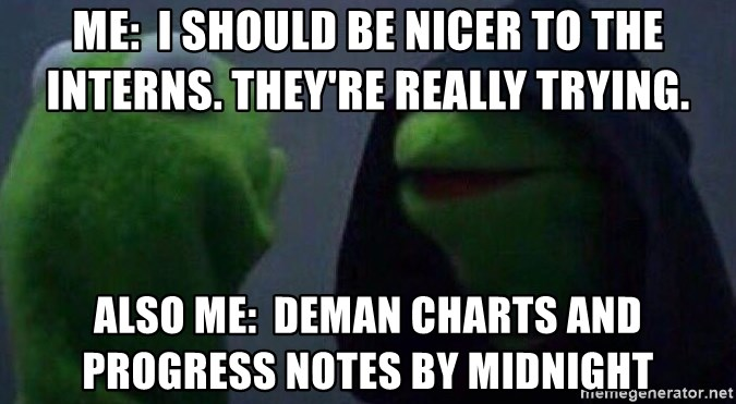 Evil kermit - Me:  i should be nicer to the interns. They're really trying. Also me:  Deman charts and progress notes bY midnight