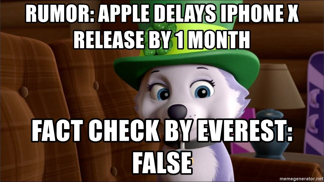 Good Luck Everest  - Rumor: Apple dElays iphonE X ReleaSe By 1 MOnth Fact check by Everest: False