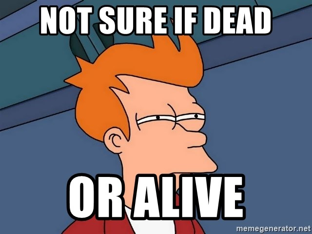 Futurama Fry - not sure if dead or alive