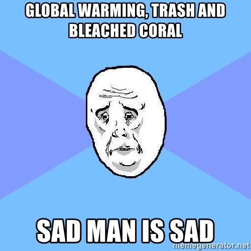 Okay Guy - Global warming, trash and bleached coral sad man is sad