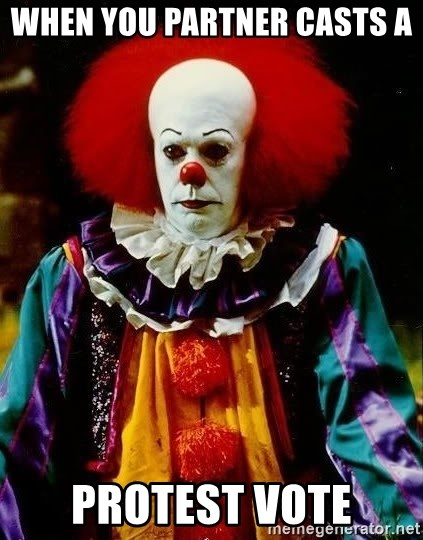 it clown stephen king - When you partner casts a  Protest vote