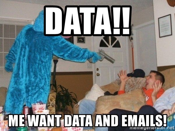 Bad Ass Cookie Monster - DATA!! ME Want DAta and emails!