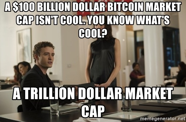 sean parker - A $100 Billion DOllar Bitcoin Market Cap isn't Cool. You know what's cool? a trillion dollar market Cap