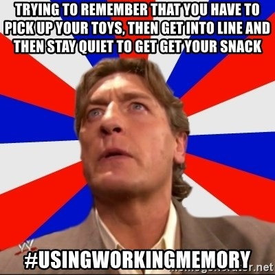Regal Remembers - trying to remember that you have to pick up your toys, then get into line and then stay quiet to get get your snack #usingworkingmemory