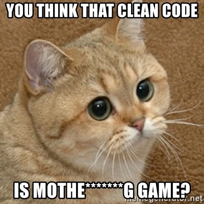 motherfucking game cat - You think that clean code is mothe*******g game?