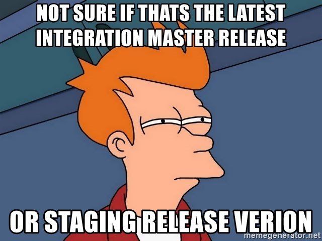 Futurama Fry - not sure if thats the latest integration master release or staging release verion