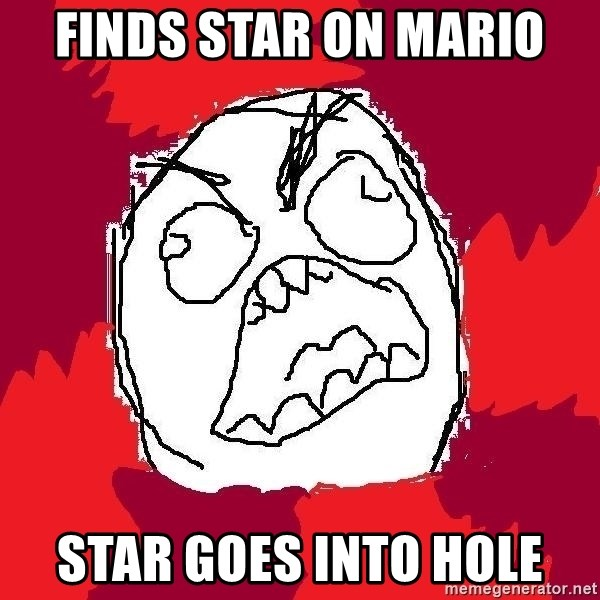 Rage FU - FInds star on mario Star goes into hole