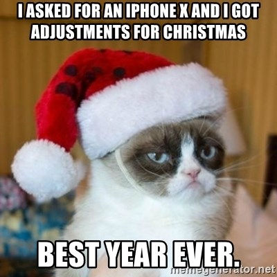 Grumpy Cat Santa Hat - i asked for an iphone x and i got Adjustments for christmas best year ever.