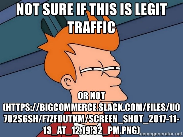 Futurama Fry - not sure if this is legit traffic or not (https://bigcommerce.slack.com/files/U0702S6SH/F7ZFDUTKM/screen_shot_2017-11-13_at_12.19.32_pm.png)