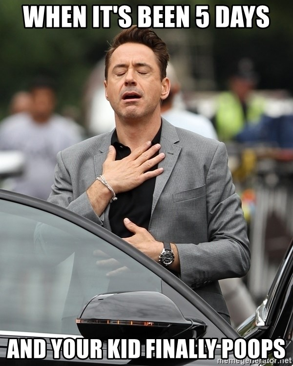 robert downey jr relieved - when it's been 5 days and your kid finally poops