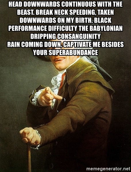 Ducreux - Head downwards continuous with the beast.