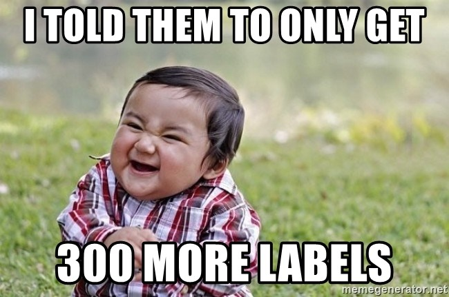evil asian plotting baby - I told them to only get 300 more labels