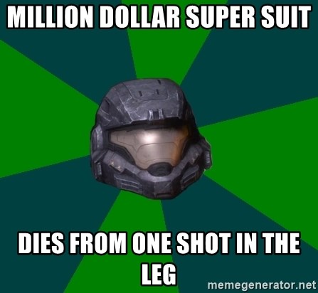 Halo Reach - million dollar super suit dies from one shot in the leg