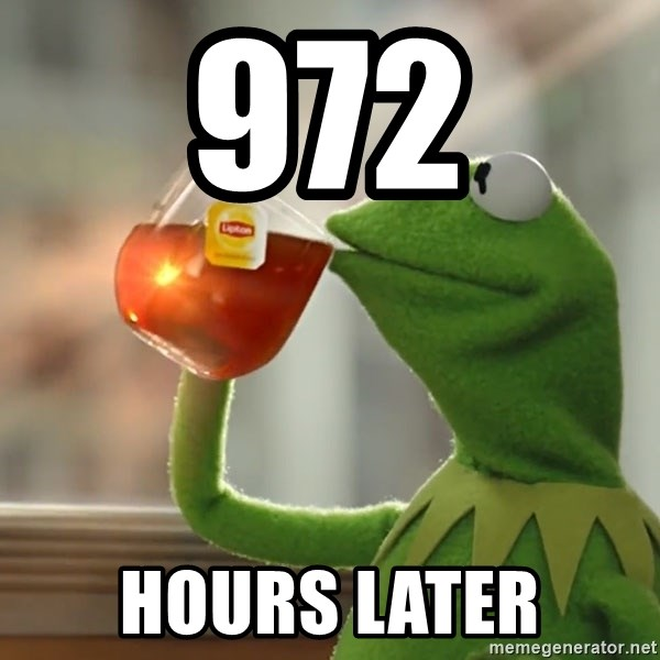 Kermit The Frog Drinking Tea - 972 Hours later