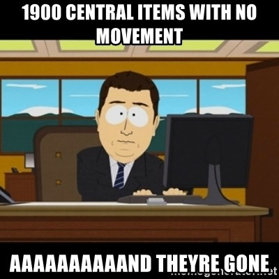 and they're gone - 1900 central items with no movement aaaaaaaaaand theyre gone