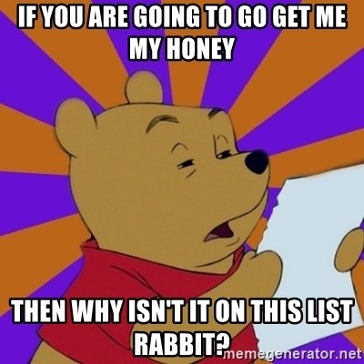 Skeptical Pooh - If you are going to go get me my honey then why isn't it on this list rabbit?