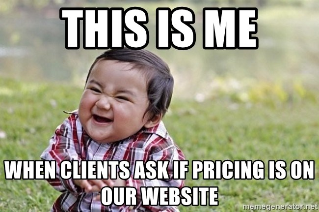 evil asian plotting baby - This is me when clients ask if pricing is on our website
