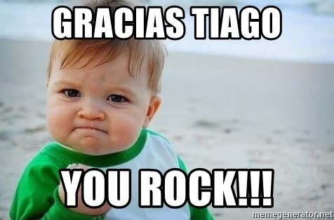 fist pump baby - Gracias Tiago You rock!!!