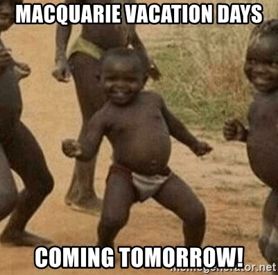 Success African Kid - MACQUARIE VACATION DAYS COMING TOMORROW!