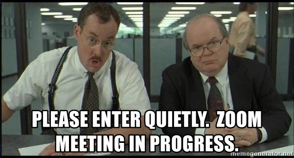 Office space - Please enter quietly.  Zoom meeting in progress.