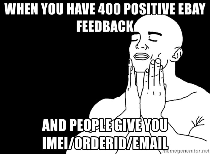 When You Have 400 Positive Ebay Feedback And People Give You Imei Orderid Email Feels Good Meme Generator