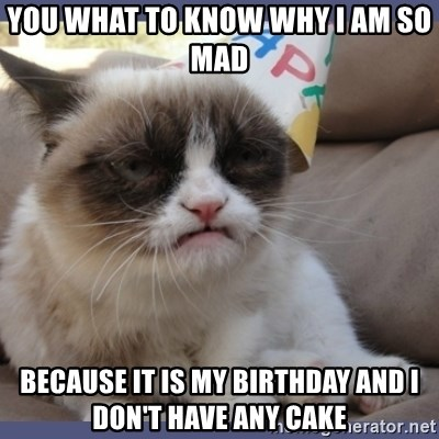 Birthday Grumpy Cat - you what to know why i am so mad  because it is my birthday and i don't have any cake